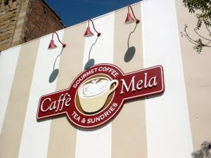 Custom cabinet Sign for Caffe Mela